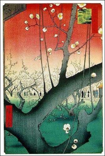 """Qui a réalisé l'estampe """"Le Jardin des pruniers à Kameido"""" ? (Série des 100 vues célèbres d'Edo)"""