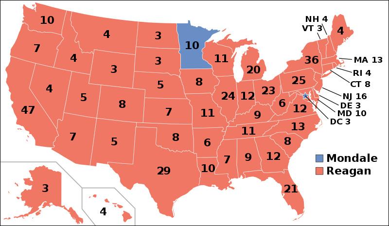 Ronald Reagan est réélu très largement en 1984 : quel record est obtenu pour la première fois par un président ?