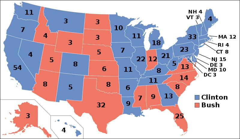 Quel État est remporté par Bill Clinton en 1992 ?