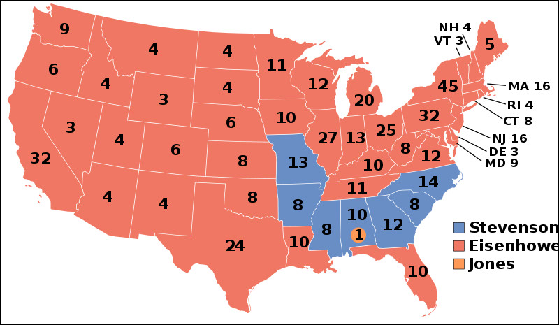 Il s'agit de la carte électorale de l'élection présidentielle américaine de 1956. Quelle est la couleur du parti démocrate ?