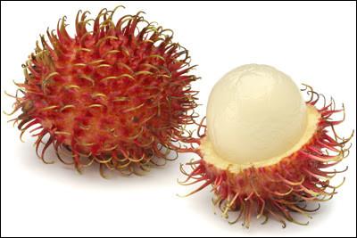 Quel est ce fruit tropical avec une pelure fibreuse qui entourent une pulpe blanche collée à un noyau ?