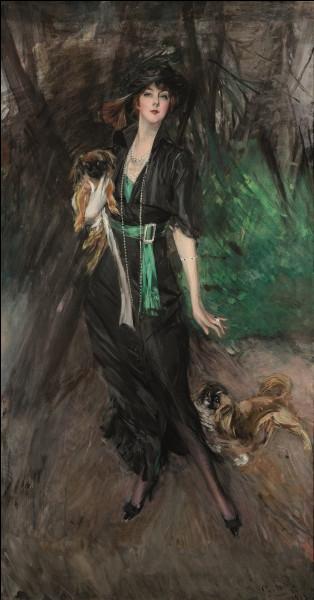Portrait de femme en robe noire, c'est Lina Bilitis avec ses deux pékinois, représentée par le peintre :