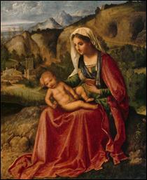 """Qui a peint """"Vierge à l'enfant dans un paysage"""" ?"""