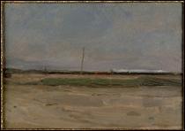 """Qui a peint """"Paysage de polders avec un train et un petit moulin à vent à l'horizon"""" ?"""