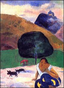 """Qui a peint """"Paysage avec des cochons noirs et un Tahitien accroupi"""" ?"""