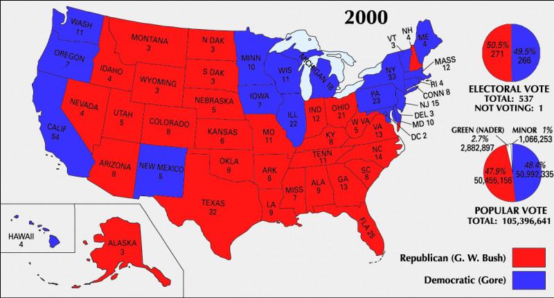 Quel État a porté George W. Bush en tête en 2000 ?