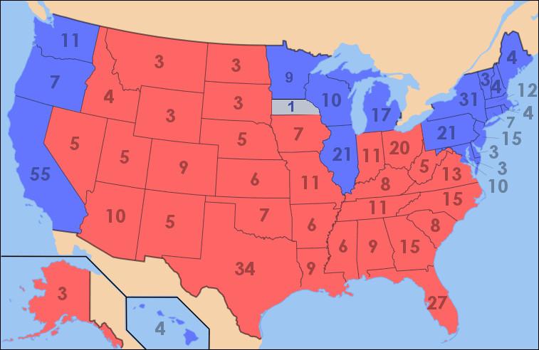 En 2004, quel État a placé John Kerry en tête ?