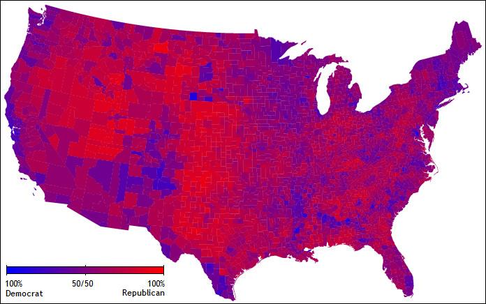 On parle encore de l'élection de 2004 : quelle est la couleur dominante sur cette carte ?