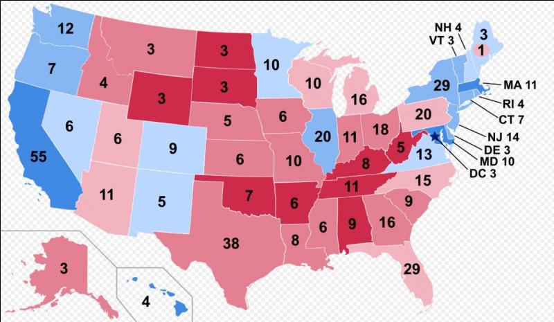Quel État n'a pas voté majoritairement démocrate en 2016 ?