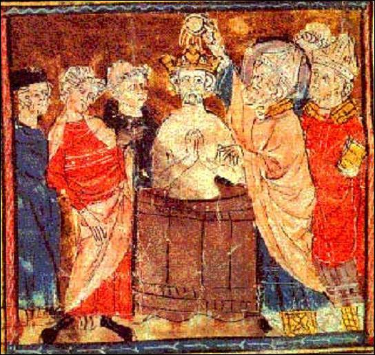 Qui voit-on sur cette image du baptême de Clovis ?