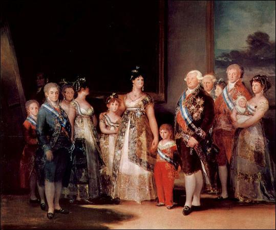 Qui est le peintre de cette toile représentant la famille de Charles IV ?