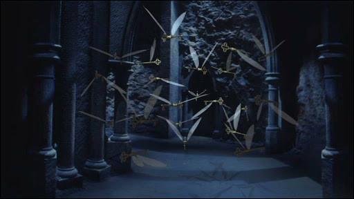 Sous la trappe, pendant l'épreuve des clés volantes, quel clé doit attraper Harry pour ouvrir la porte ?