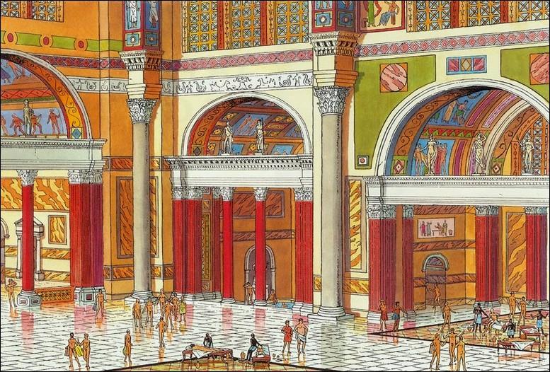 A l'époque impériale les thermes, grands établissements de bains, se multiplient à Rome et dans les provinces. Quel service ne trouvait on pas dans ces thermes ?