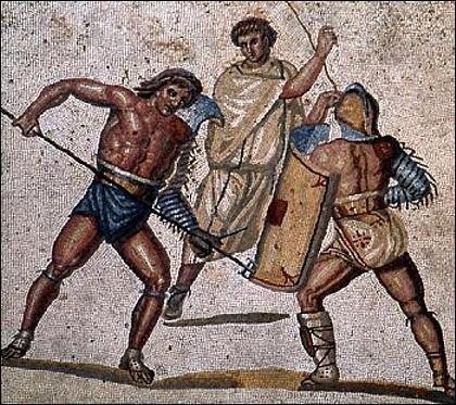 A l'origine les combats de gladiateurs étaient organisés lors de funérailles pour honorer la mémoire du défunt. De quel peuple ancien de la péninsule Italique les romains ont-ils hérité ces combats ?