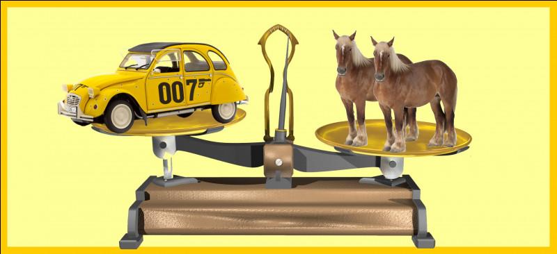 Deux chevaux comtois sont plus lourds que la 2 CV Citroën de James Bond. Êtes-vous d'accord avec la balance ?
