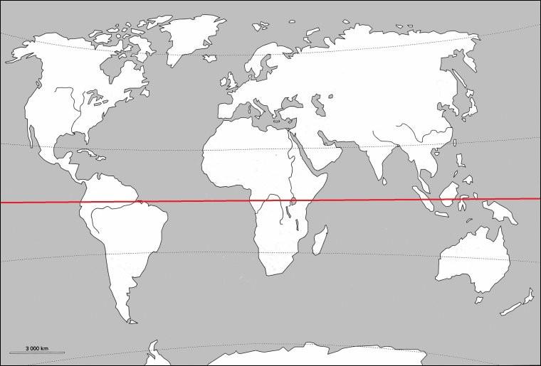 À quel degré de latitude correspond la ligne de l'équateur ?