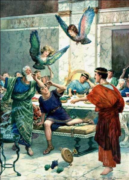 Les dieux excédés par le talent de devin de ce roi le rendirent aveugle et deviendra la victime des Harpies qui lui vole sans cesse sa nourriture. Qui est-il ?
