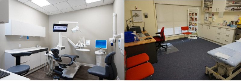Le centre dispose d'un espace de santé. Les consultations sont gratuites. Quelle illustration représente un cabinet dentaire ?