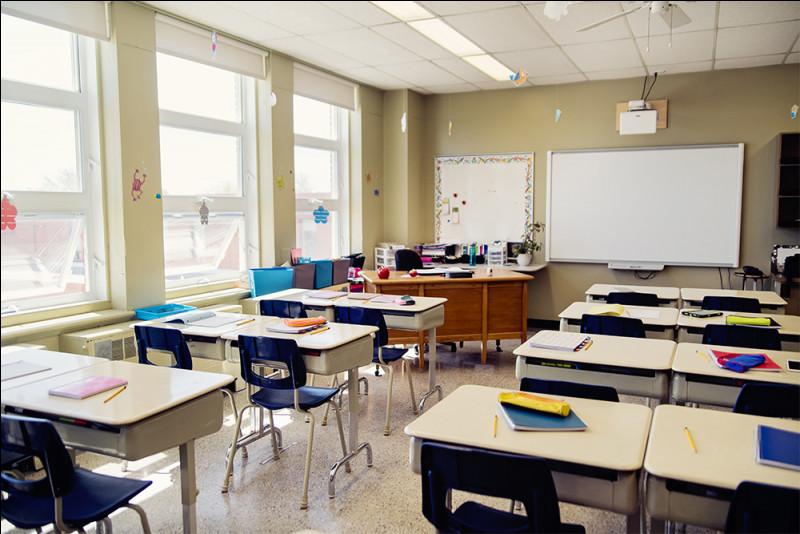 Dans cette salle de classe, un formateur est présent afin d'apprendre aux personnes : la maîtrise de l'écriture, des mathématiques et de la lecture. Où se situe son bureau ?
