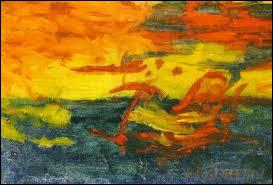 """Quel animal est lié à l'histoire de ce tableau intitulé ''Le soleil s'endormit sur l'Adriatique'', signé par le peintre Boronali, qui se réclame du courant """"Eccessiviste"""" ?"""