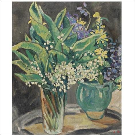 """Qui a peint """"Vase de muguet et cruche verte, fleurs bleues"""" ?"""