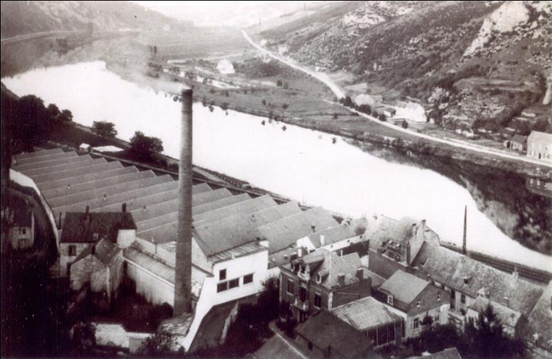 À quel type d'industrie appartenait l'ancienne grande cheminée encore visible au nord de Bouvignes ?