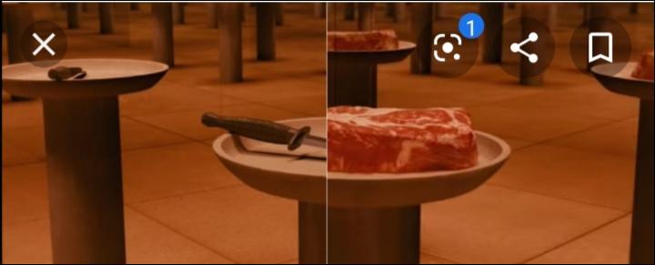 1ère simulation : 2 paniers apparaissent devant toi, dans l'un il y a un couteau, dans l'autre il y a un morceau de viande. Que choisirais-tu ?