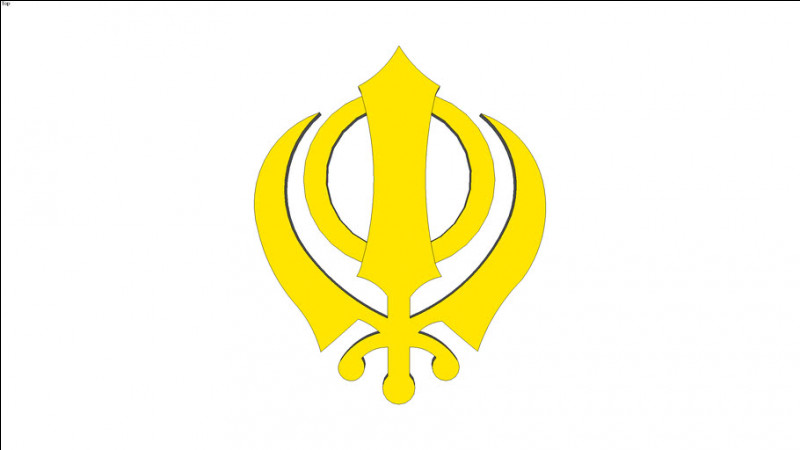 À quelle religion le khaṇḍā, symbole constitué de plusieurs armes entremêlées, est-il associé ?