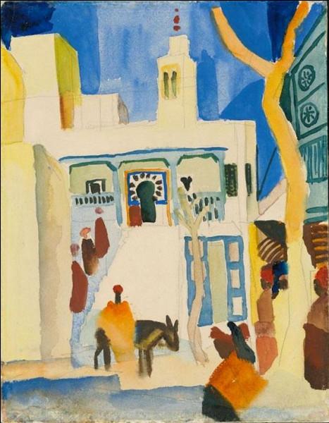 """Qui a réalisé l'aquarelle """"Café des Nattes à Sidi Bou Saïd"""" ?"""