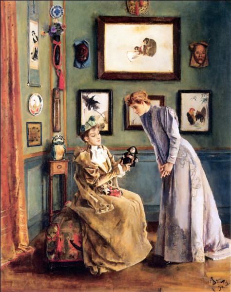 """À qui doit-on la toile intitulée """"Jeune femme avec une poupée japonaise"""" ?"""