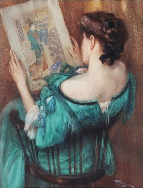 """Son tableau se nomme """"Jeune Femme regardant des estampes japonaises"""" :"""