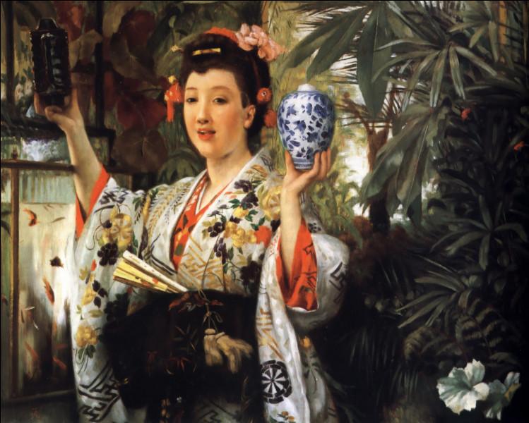 """Qui a représenté cette """"Jeune Femme portant des objets japonais"""" ?"""