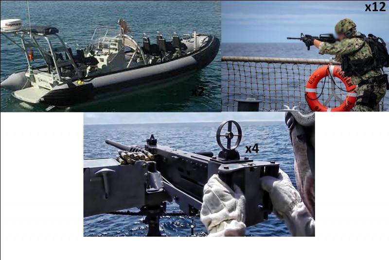 Même si nous ne sommes pas un navire militaire, il peut arriver de traverser les mers infestées de pirates et autres brigands. La protection du bateau et des personnes à bord est primordiale. Combien de soldats sont présents ?