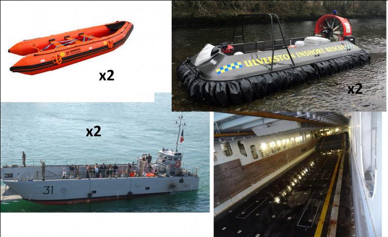 Six embarcations secondaires complètent notre flotte d'engins. Lequel est un aéroglisseur ?