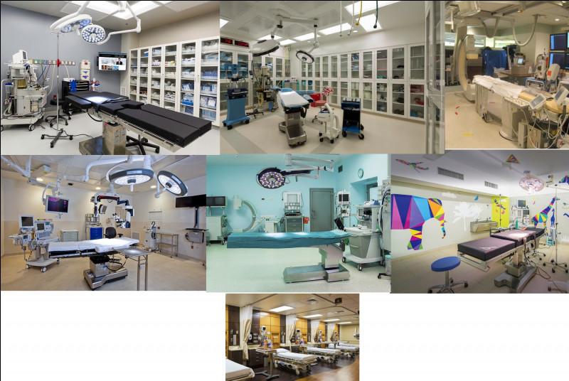 Le service de la chirurgie dispose de six blocs opératoires, dont une pour les grands brûlés et une pour les enfants. Il a aussi une chambre avec 20 lits. Comment se nomme cette pièce ?