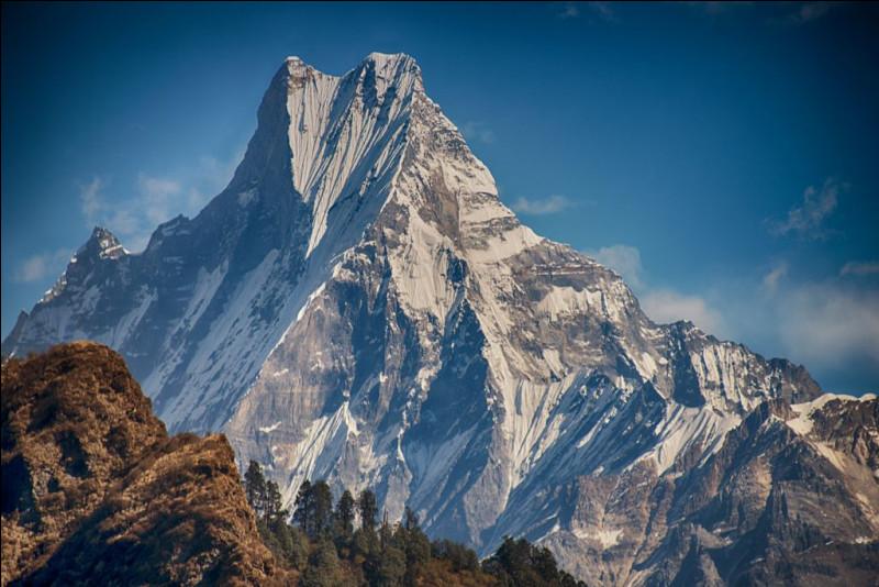 """Le Machapuchare, sublime montagne située dans le massif des Annapurnas, est l'une des demeures du dieu Shiva selon les hindouistes. Par conséquent son ascension, comme celle du mont Kailash, est strictement interdite. Son sommet caractéristique lui doit son nom qui signifie """"queue de poisson"""". Malgré l'aura de légende qui l'entoure, il est loin d'être le plus haut sommet himalayen."""