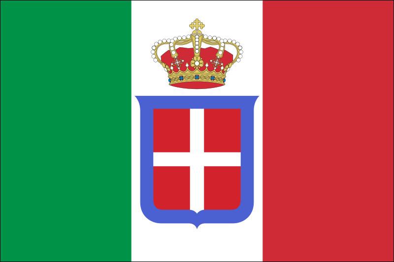 En quelle année le royaume de Sardaigne laisse-t-il place au royaume d'Italie, gouverné par la dynastie de la maison de Savoie jusqu'en 1946 ?(ph. : Le drapeau du royaume d'Italie)