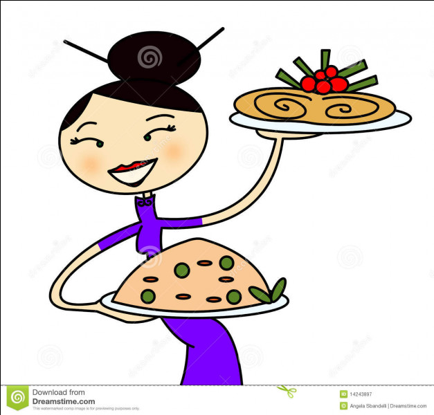 Arrive notre serveuse ! Ne vous trompez pas de plat !