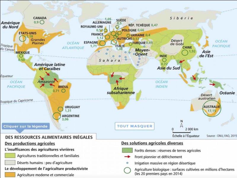 Quel type d'agriculture est pratiqué dans les régions où la sécurité alimentaire n'est pas encore assurée ?