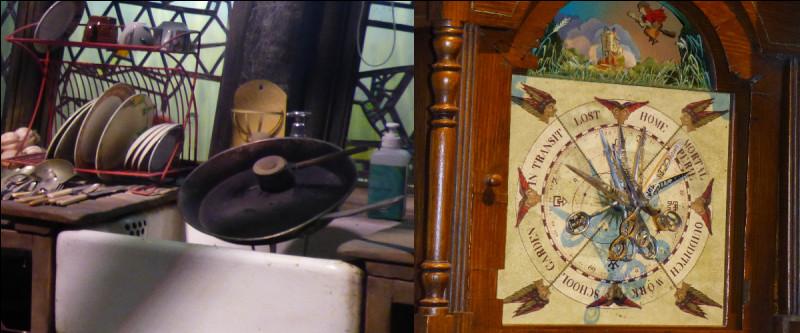 Dernière note joyeuse, le Terrier… Je montre deux détails : la cuillère tourne vraiment toute seule dans la marmite ; sur la droite, la fameuse horloge, quel lieu n'y apparaît pas ?