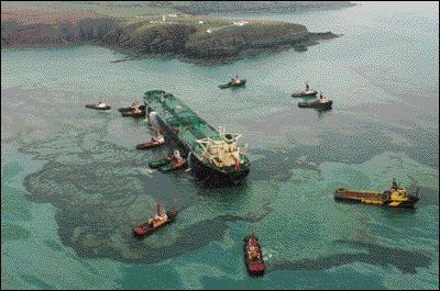 Quelles côtes ont été polluées par l'échouage du Sea Empress en février 1996 ?