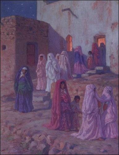 """Qui a peint """"Musulmans quittant la mosquée du village"""" ?"""