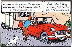 Dans ''l'Ile Noire'', Tintin demande à un conducteur de l'aider dans sa poursuite des méchants. Quelle est cette voiture ?