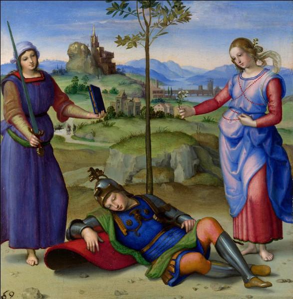 """Complétez le titre de ce tableau peint par Raphaël en 1504 : """"Le … du chevalier""""."""