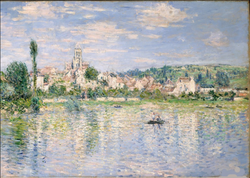 """C'est """"Vetheuil en été"""", peinture réalisée par l'artiste :"""