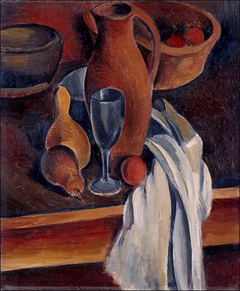 """Qui est le peintre de cette """"Nature morte en terre cuite avec cruche et serviette blanche"""" ?"""