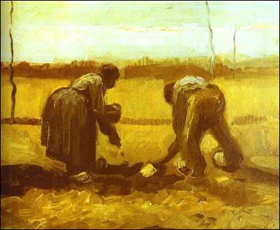 """Qui a représenté ces """"Fermiers plantant des pommes de terre"""" ?"""
