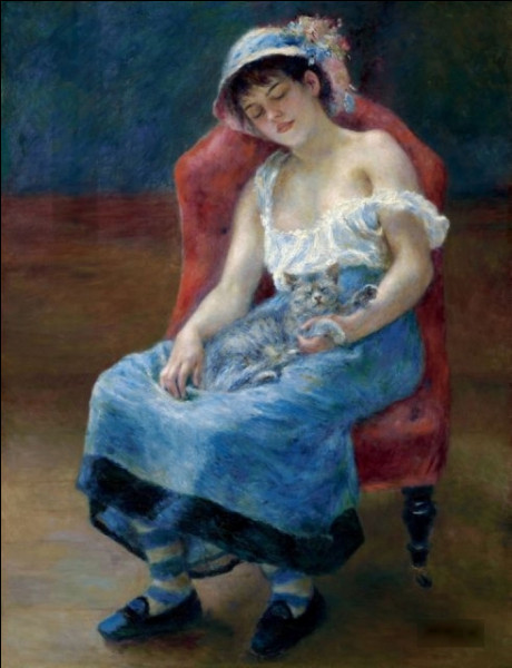 """Qui a peint """"Jeune femme assoupie avec chat"""" ?"""