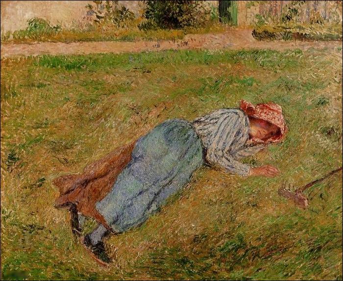 """Qui a réalisé le tableau """"Paysanne se reposant dans les champs"""" ?"""