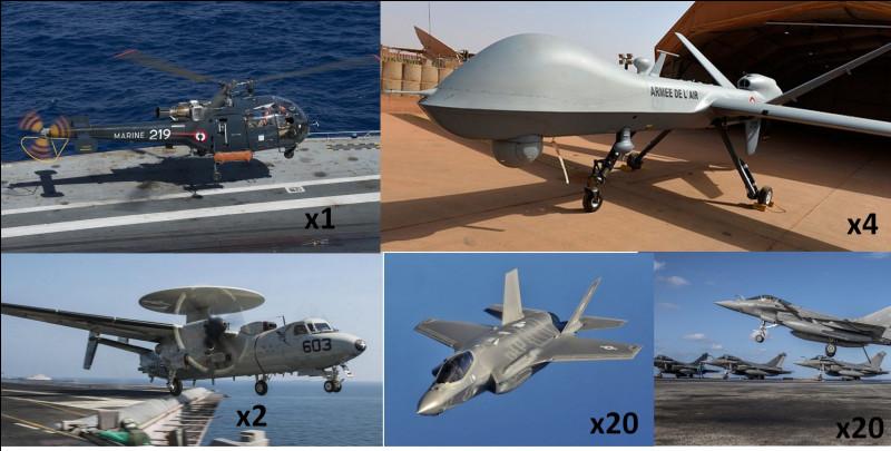 Passons ensuite aux aéronefs présents dans le groupe aéronaval. Combien y a-t-il d'avions de chasse en tout sur le porte-avions ?